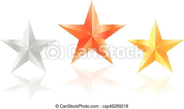 3D estrellas doradas estrellas de bronce con lados - csp46289218