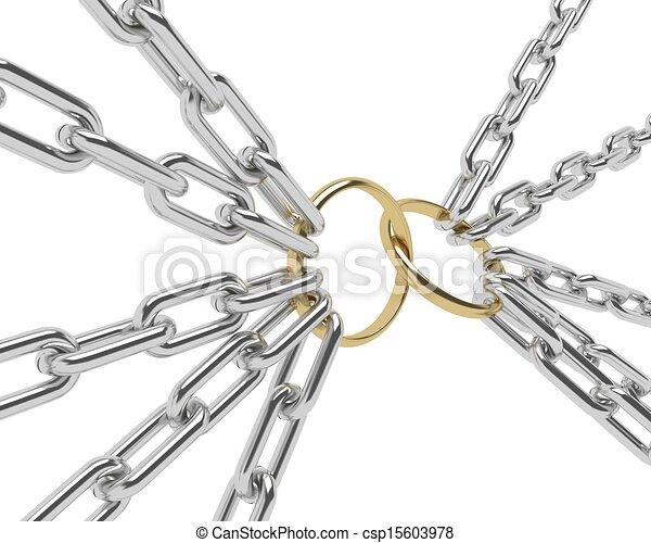 dorado, cadena, cromo, compromiso, aislado, anillo, blanco - csp15603978