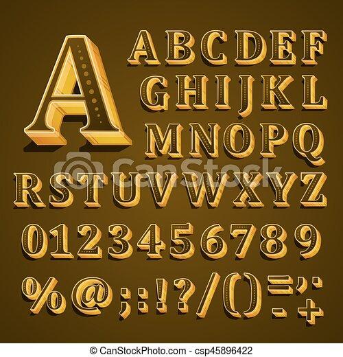El alfabeto inglés dorado en el fondo caqui. Ilustración de vectores - csp45896422