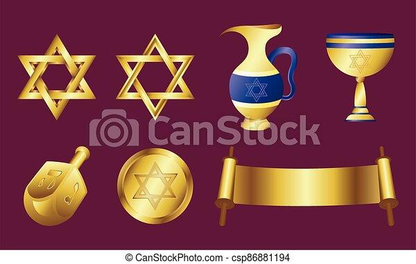 dorado, celebración, feliz, tarjeta, iconos, conjunto, hanukkah - csp86881194