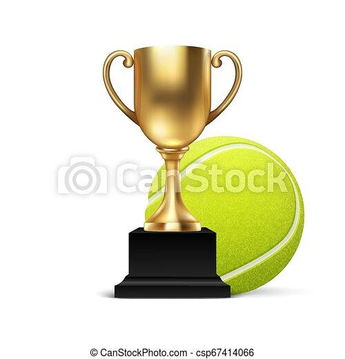 Vector Realístico 3d copa de oro en blanco icono de copa de icono wirh bola de tenis aislada en blanco. Diseño de plantilla de trofeo de campeonato. Premio al torneo deportivo, premio al ganador de oro y concepto de victoria - csp67414066