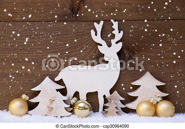 Decoración De Navidad Dorada Nieve árbol Y Renos Copos De
