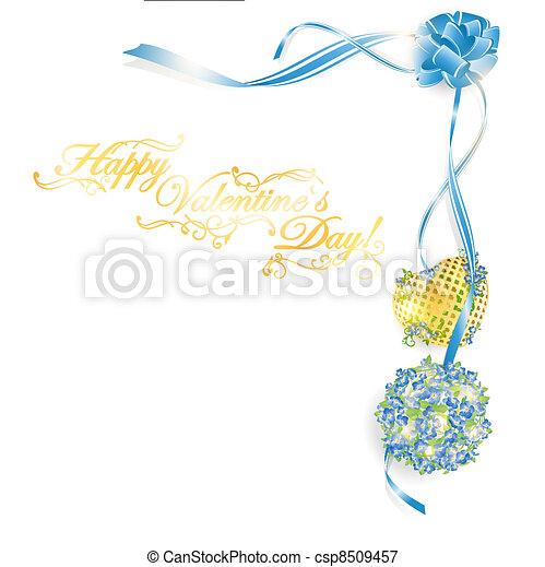 Ilustración del marco del día de San Valentín con ramos de no-me-no y corazón dorado, espacio copiado para su texto - csp8509457