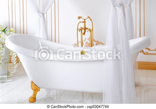 Dorado, cuarto de baño, clásico, luz, elegante, colores, lujo ...