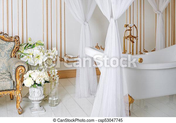 Dorado, cuarto de baño, clásico, luz, elegante, colores ...