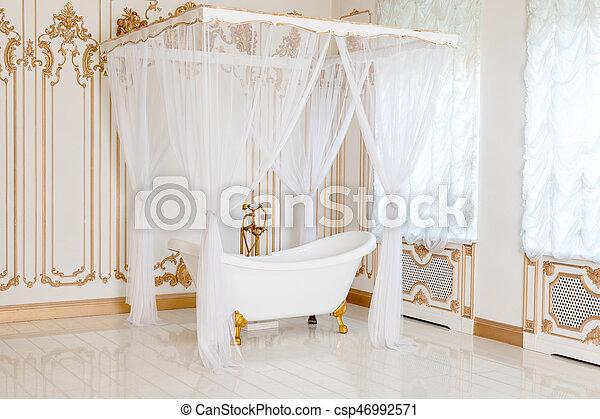 dorado, cuarto de baño, clásico, luz, elegante, colores, lujo, interior.,  muebles, canopy., detalles