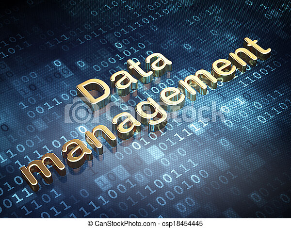 Concepto de datos: gestión de datos dorados en el fondo digital - csp18454445
