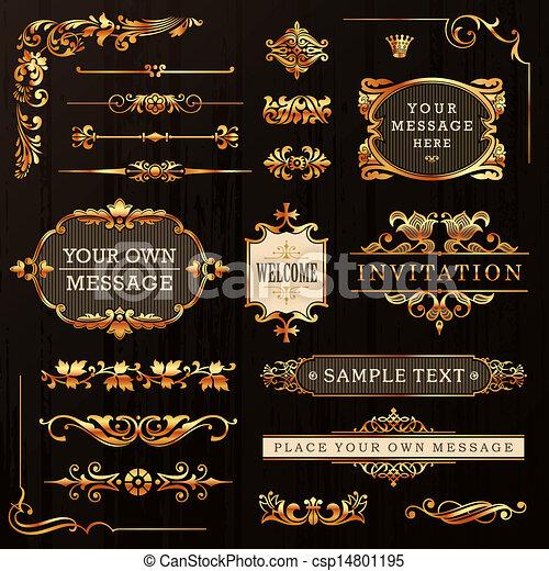 Elementos de diseño calígrafos dorados - csp14801195