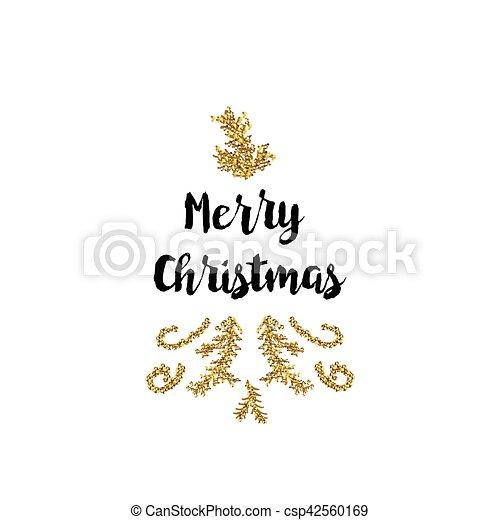 Tarjeta de Navidad en fondo blanco con elementos dorados y texto - csp42560169