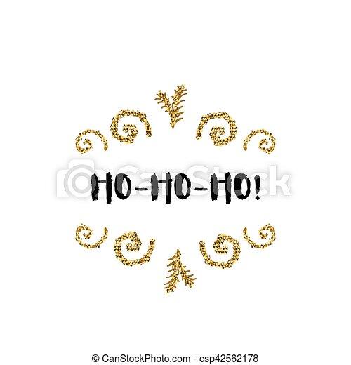 Tarjeta de Navidad en fondo blanco con elementos dorados y texto - csp42562178