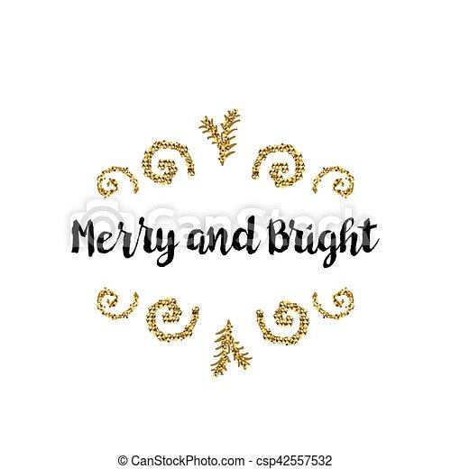 Tarjeta de Navidad en fondo blanco con elementos dorados y texto - csp42557532