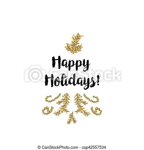 Tarjeta de Navidad en fondo blanco con elementos dorados y texto - csp42557534