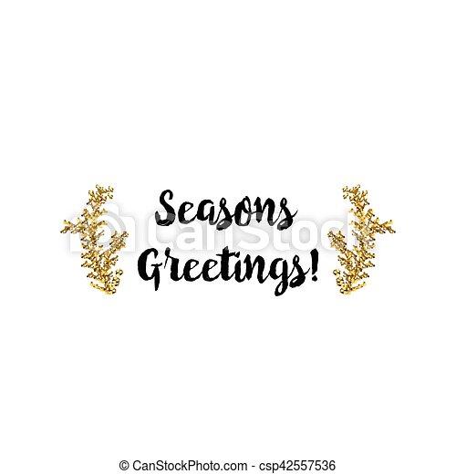 Tarjeta de Navidad en fondo blanco con elementos dorados y texto - csp42557536