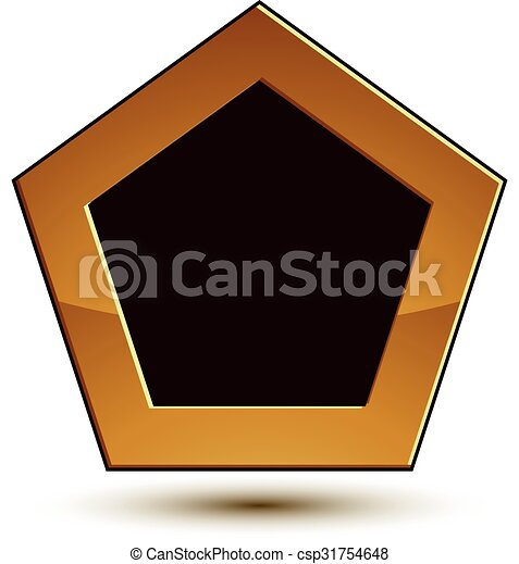 Un emblema clásico del vector aislado en el fondo blanco. Escudo dorado aristocrático con espacio de copia negra, despejado EPS 8. - csp31754648