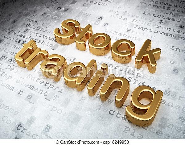 El concepto de negocios: el comercio de acciones de oro en el fondo digital - csp18249950