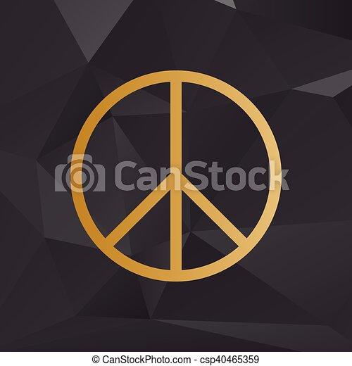 Ilustración de signo de paz. Estilo dorado en el fondo con polígonos. - csp40465359