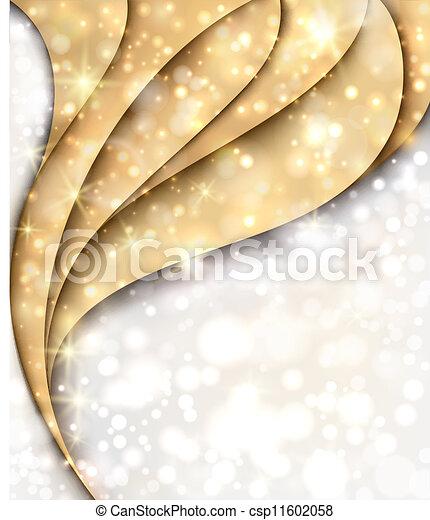 Trasfondo dorado y plateado de Navidad con luces y estrellas - csp11602058