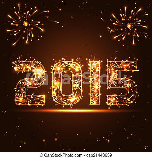 Dorado Fuegos Artificiales Vector Numeros Ano 2015 Nuevo