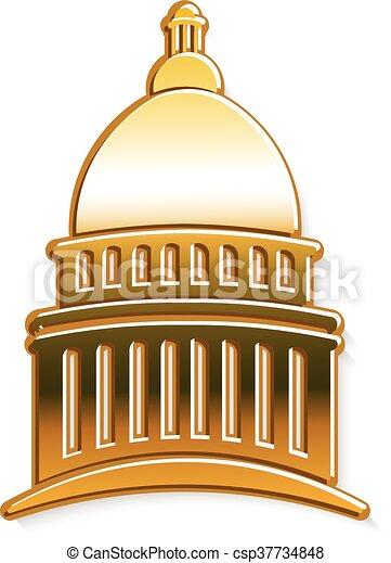 Logo del capitolio dorado. Diseño gráfico Vector - csp37734848
