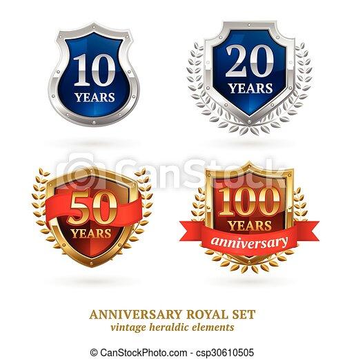 Marcas herádicas de oro del aniversario - csp30610505