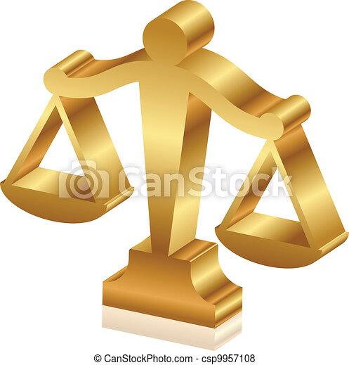 Vector 3D icono de la justicia dorada sc - csp9957108