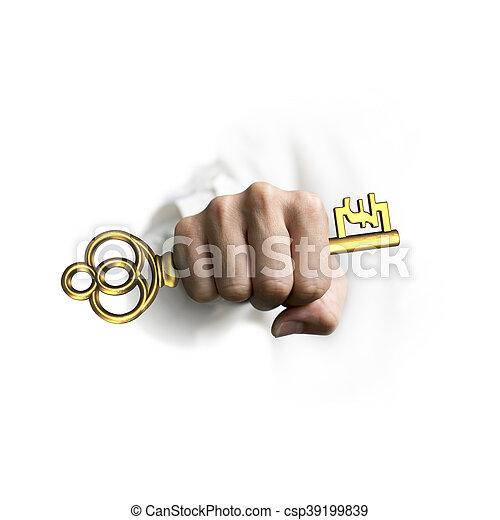 Mano sosteniendo la llave del tesoro dorado en forma de símbolo de libra - csp39199839