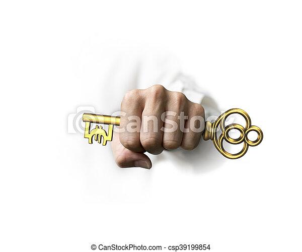 Mano sosteniendo la llave del tesoro dorado en forma de símbolo Euro - csp39199854