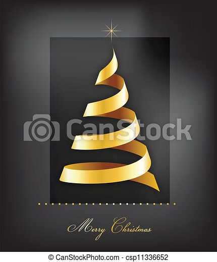 Elegante fondo de Navidad dorado con árboles y luces - csp11336652