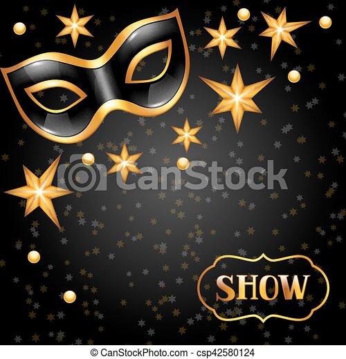 Tarjeta De Invitación De Carnaval Con Máscara Dorada Y