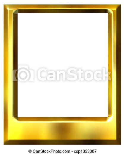 Dorado, marco, 3d, foto. Dorado, marco de la foto, aislado, blanco, 3d.