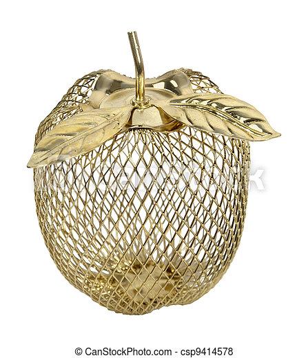 Dorado, marco, alambre, manzana. Dorado, alambre, manzana ...