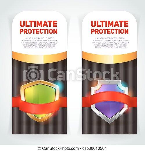 Estandartes de marcos dorados de escudo fijados - csp30610504