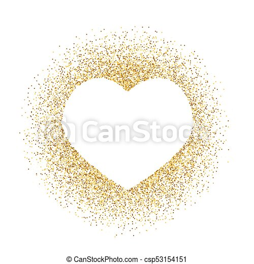 Dorado Marco Espacio Text Aislado Corazón Vector White Polvo Resplandor