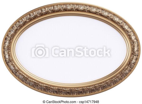 Dorado, marco, espejo, oval, o. Dorado, marco, aislado,... dibujo ...