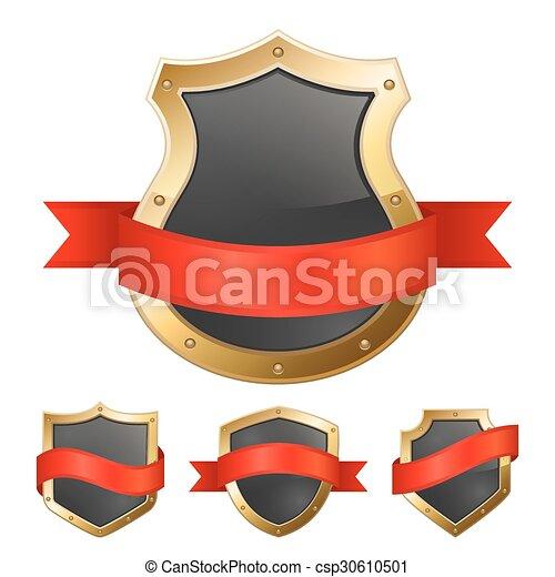 Escudos dorados negros con cinta - csp30610501