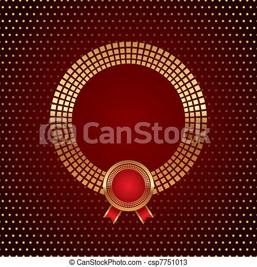 Vector dorado marco redondo con placa - csp7751013