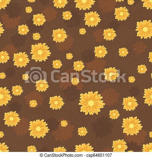 Patrón sin costura con flores de margarita doradas en el fondo marrón - csp64651107