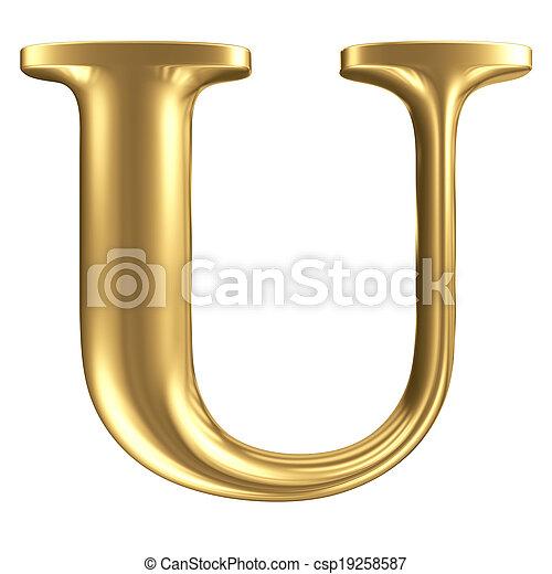dorado, mate, joyería, colección, u, carta, fuente - csp19258587