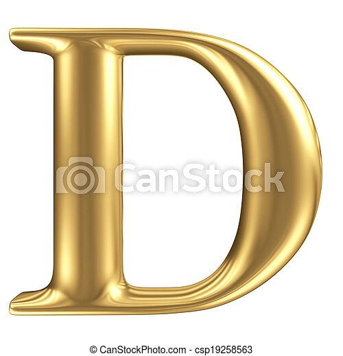 dorado, mate, joyería, d, colección, carta, fuente - csp19258563