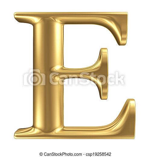 dorado, mate, joyería, e, colección, carta, fuente - csp19258542