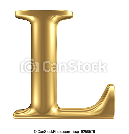 dorado, mate, joyería, l, colección, carta, fuente - csp19258576