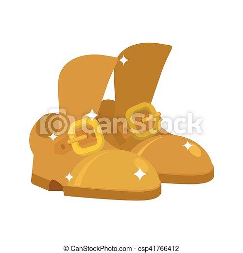Zapatos dorados. Calzado precioso. Moda Royal Footgear aislada - csp41766412