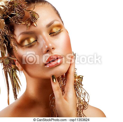 dorado, moda, makeup., lujo, retrato, niña - csp11353624