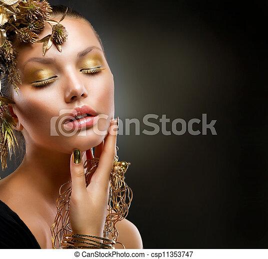 dorado, moda, makeup., lujo, retrato, niña - csp11353747