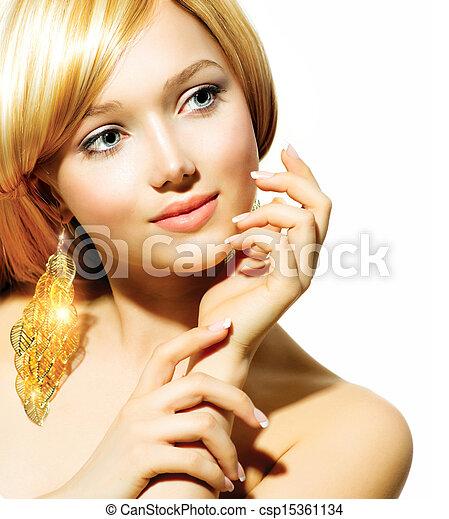 dorado, moda, rubio, belleza, pendientes, modelo, niña - csp15361134