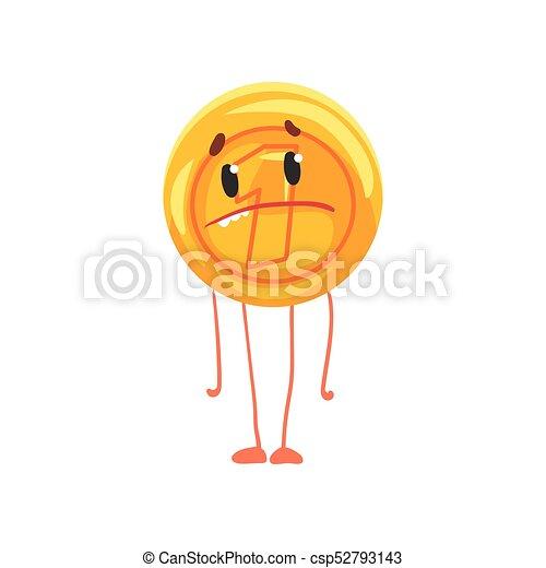 Un personaje de moneda dorada con cara triste, piernas y brazos. Icono brillante. Unidad de moneda. Dinero de dibujos animados al estilo plano. Ilustración vectorial aislada - csp52793143