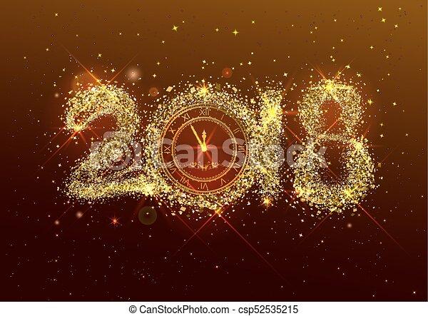 Dorado Número 2018 Año Confeti Nuevo Eve Dorado Esfera