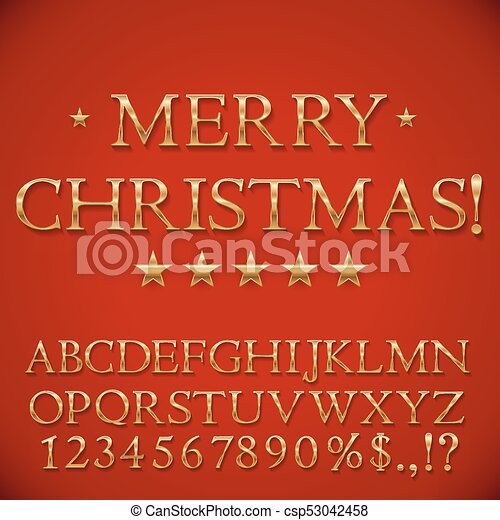 dorado, navidad, alfabeto - csp53042458