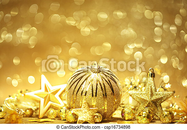 dorado, navidad, plano de fondo - csp16734898