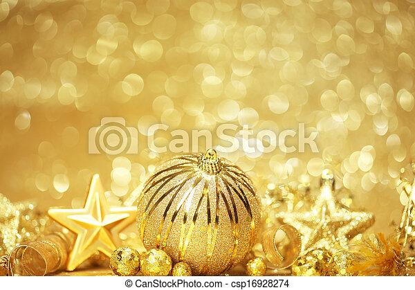 dorado, navidad, plano de fondo - csp16928274